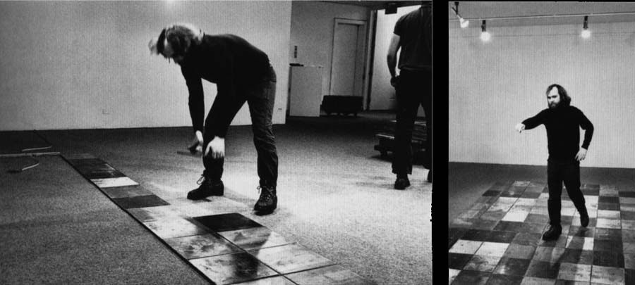 Carl Andre installing work