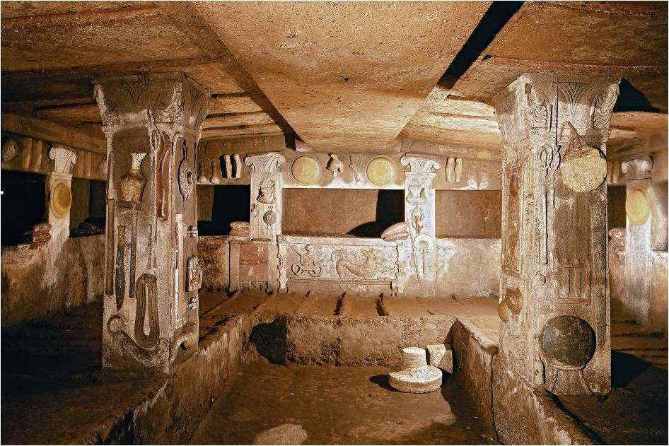 Interior of the Tomb of the Reliefs, Banditaccia necropolis, Cerveteri, late fourth or early third century BCE.