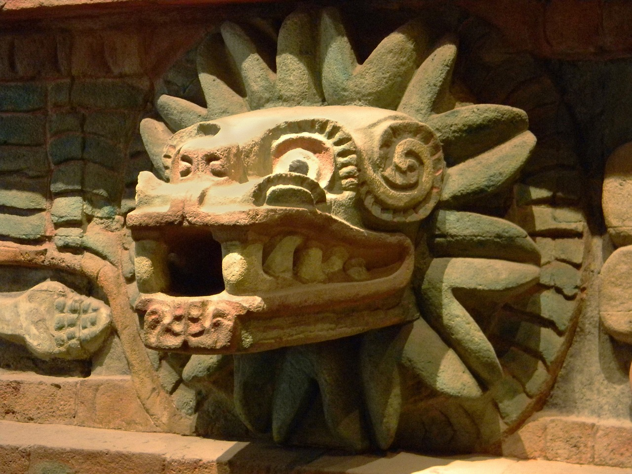 Quetzalcoatl at the Temple of the Feathered Serpent in Teotihuacan Mexico, early 3rd century AD.
